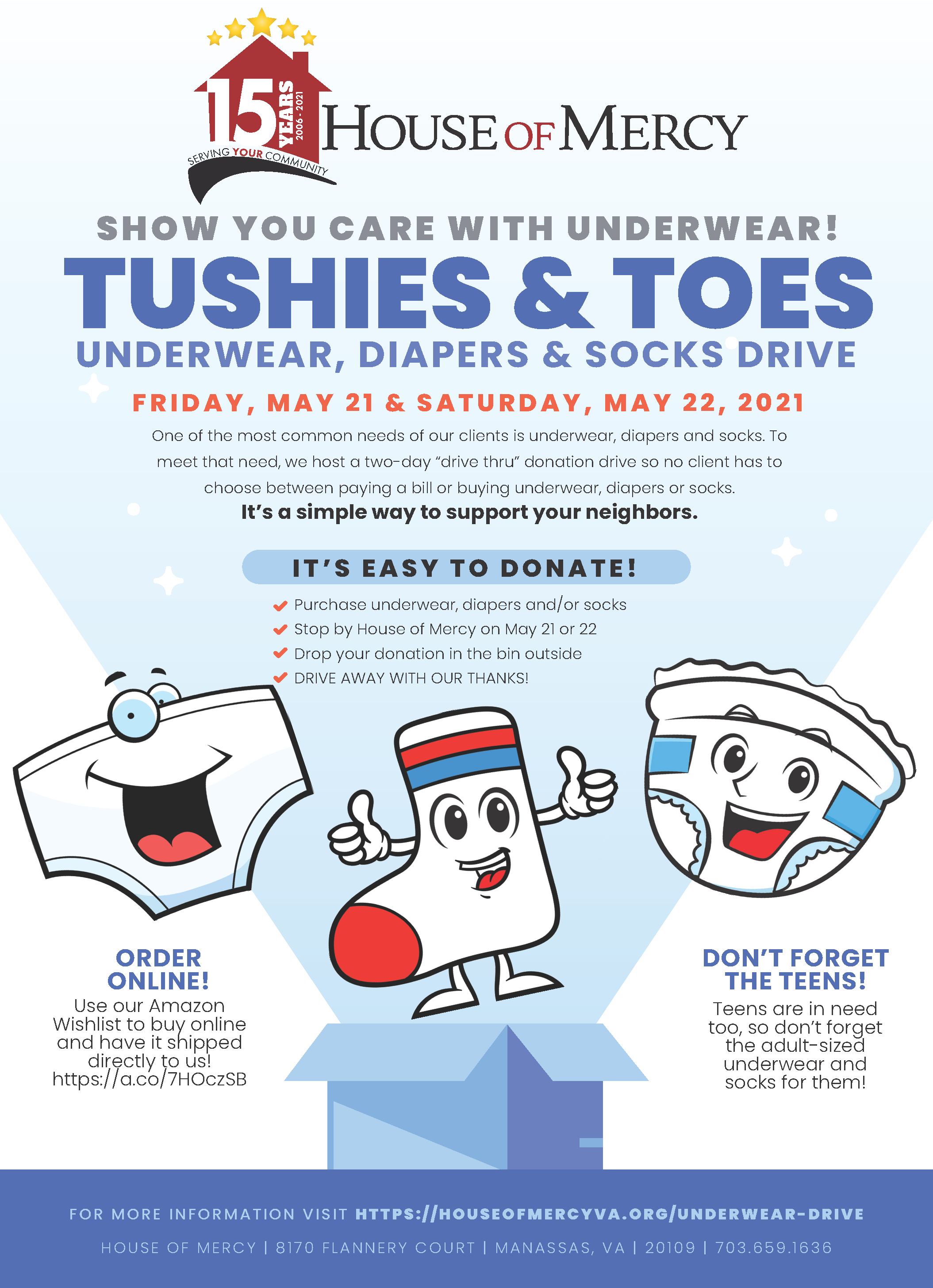 Tushies & Toes Underwear, Diapers and Socks Drive sponsored by House of Mercy